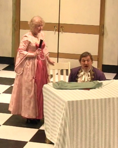 "Tartuffe Moliere ""David Nicholson"" ""Scarborough Theatre Guild"" Elmire ""Susan Sanders"" Orgon ""Thomas O'Neill"" ""table scene"" table"